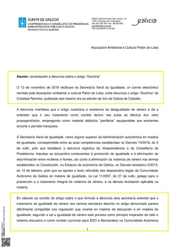 CONTESTACIÓN PETÓN DO LOBO SECRETARÍA XERAL DE IGUALDADE ARTIGO MACHISTA DA VOZ DE GALICIA_p001