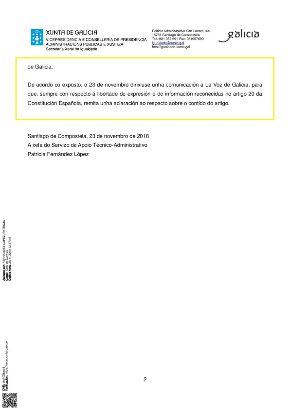 CONTESTACIÓN PETÓN DO LOBO SECRETARÍA XERAL DE IGUALDADE ARTIGO MACHISTA DA VOZ DE GALICIA_p002