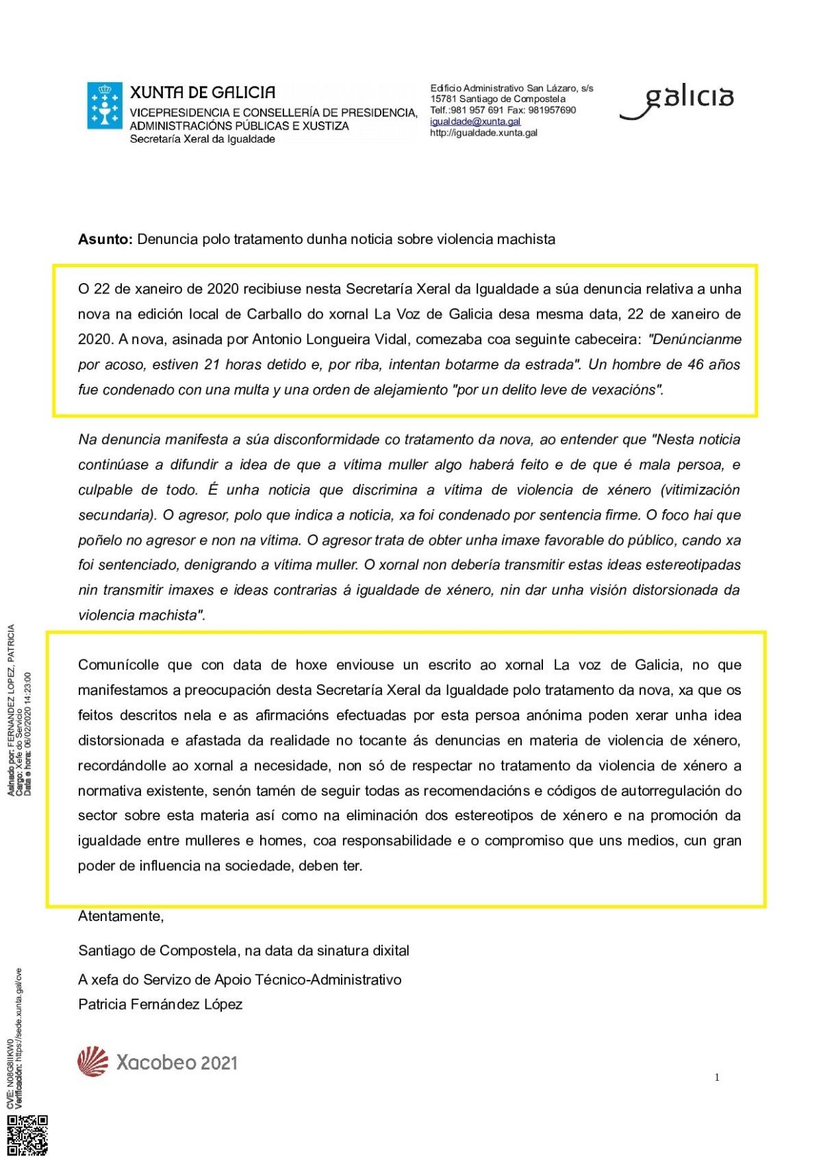 Tratamento información Voz Galicia